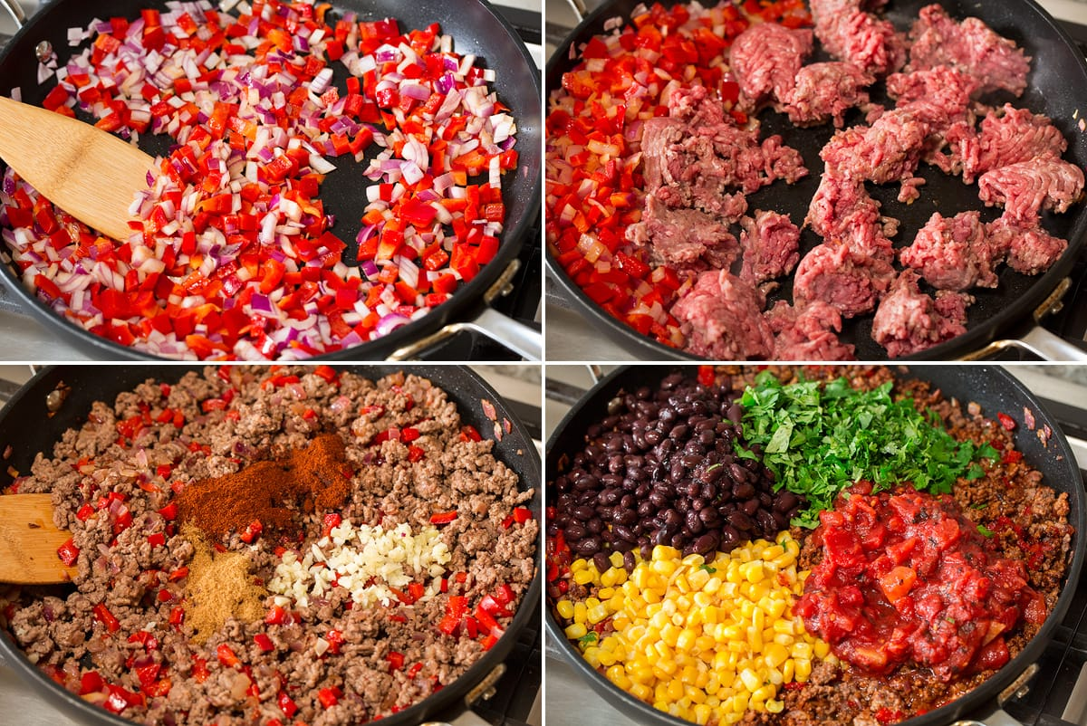 Collage of four images showing four steps of making ground beef taco casserole filling.
