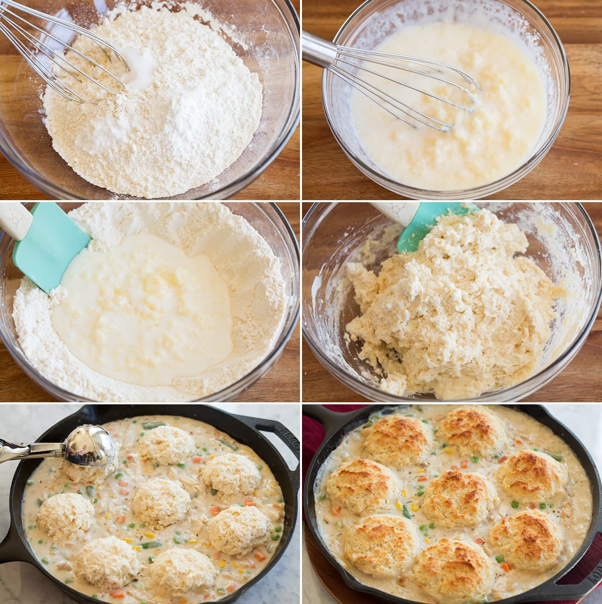 Collage of six images showing how to make biscuits for chicken pot pie.