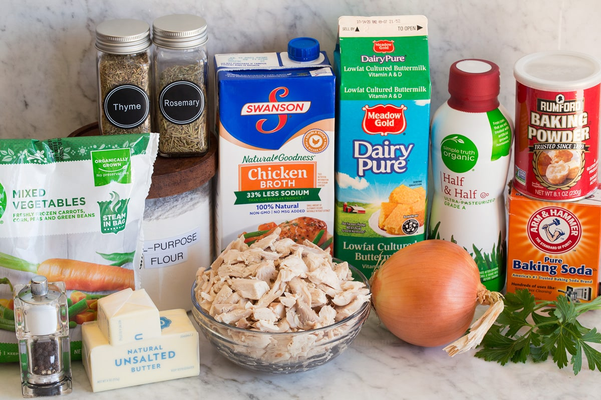 Photo of ingredients that are used to make chicken pot pie with biscuits.