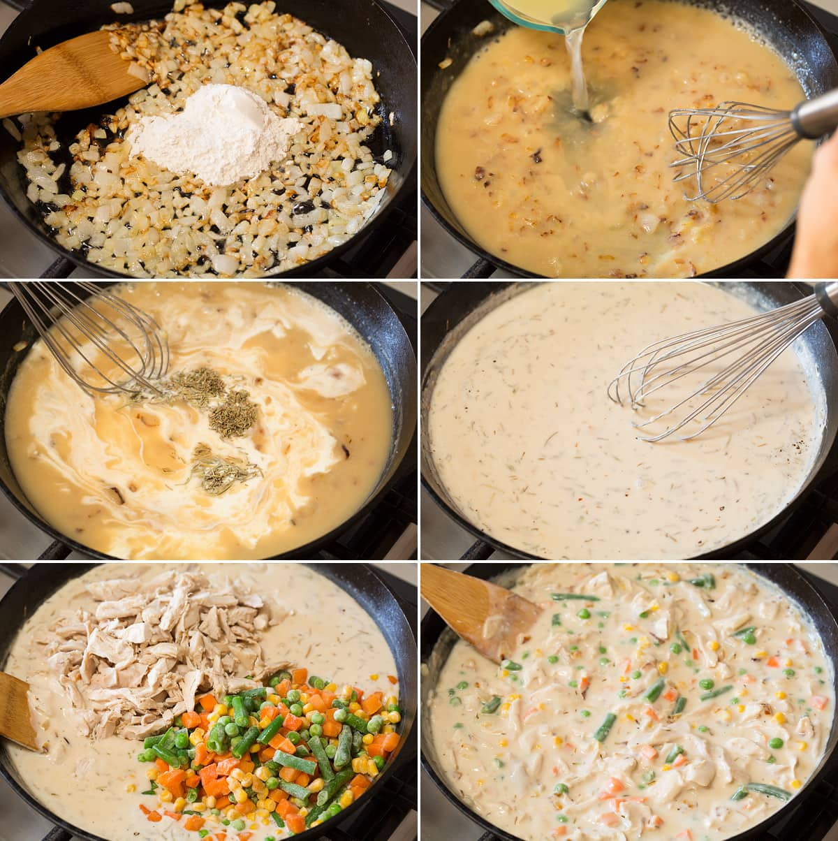 Collage of six images showing steps of making chicken pot pie filling in a cast iron skillet.