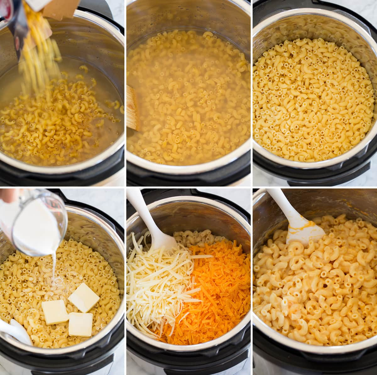 Collage of six images showing how to prepare mac and cheese in an instant pot.