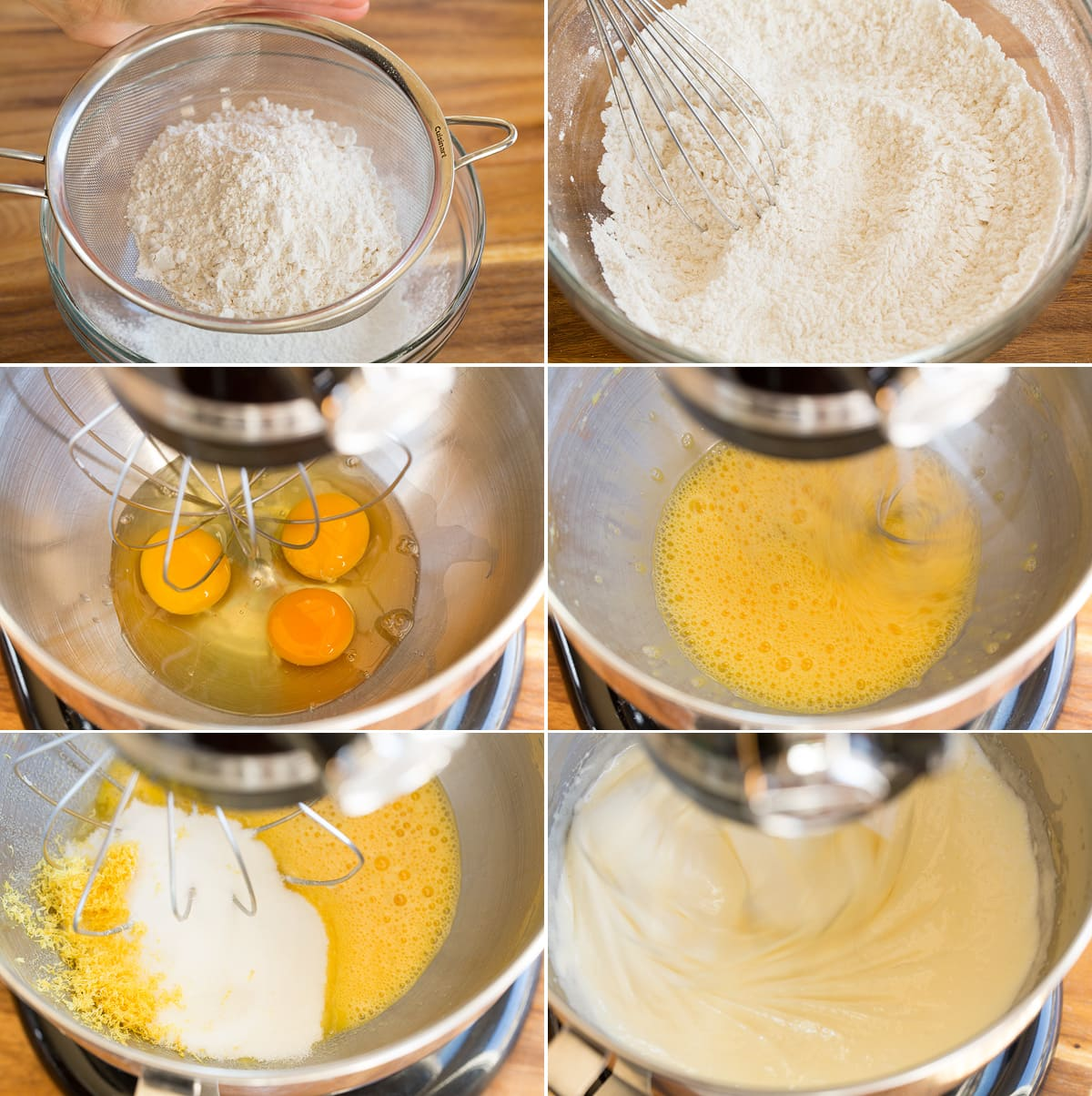 Collage of six photos showing steps of preparing olive oil cake batter in a mixer bowl.
