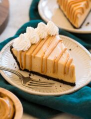 Slice of peanut butter pie on a dessert plate.