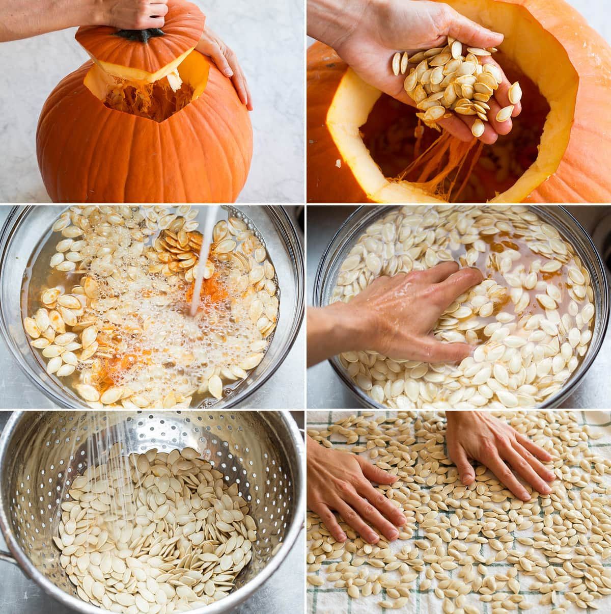Collage of six images showing steps of scooping out, rinsing and drying, pumpkin seeds.