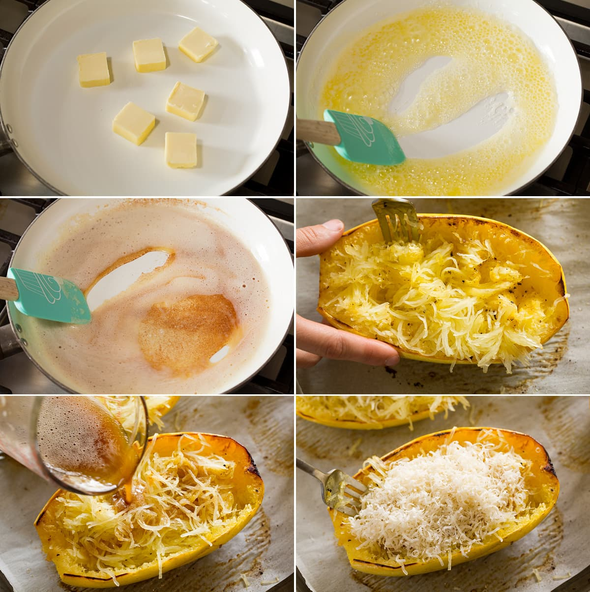 Collage of six images. Shows how to brown butter in skillet then shredding spaghetti squash, pouring over browned butter and topping with parmesan.