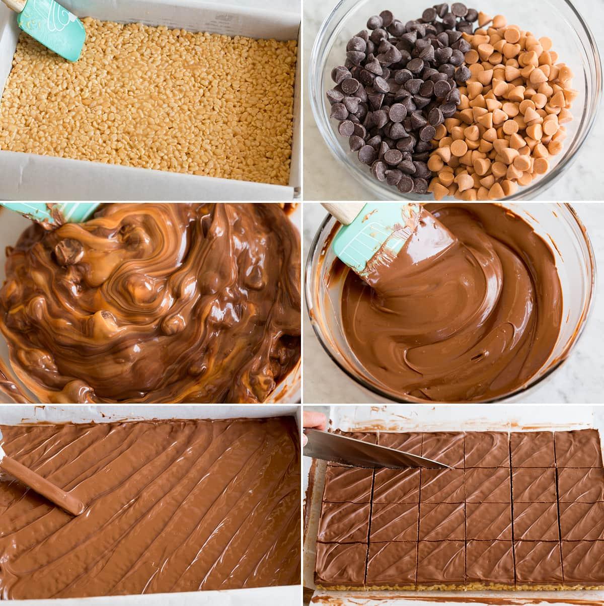 Collage de seis imágenes que muestran los pasos para esparcir la mezcla de scotcheroo en la sartén, derretir el chocolate y esparcir la mezcla en la sartén.