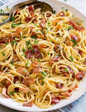 Pasta carbonara shown in a large white serving bowl.