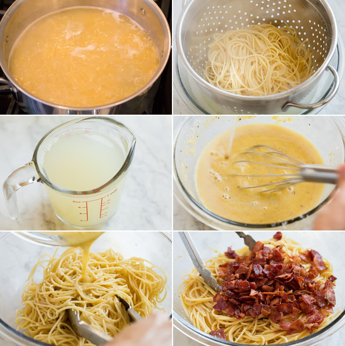 Collage of six images showing how to prepare pasta and toss with sauce for pasta carbonara.