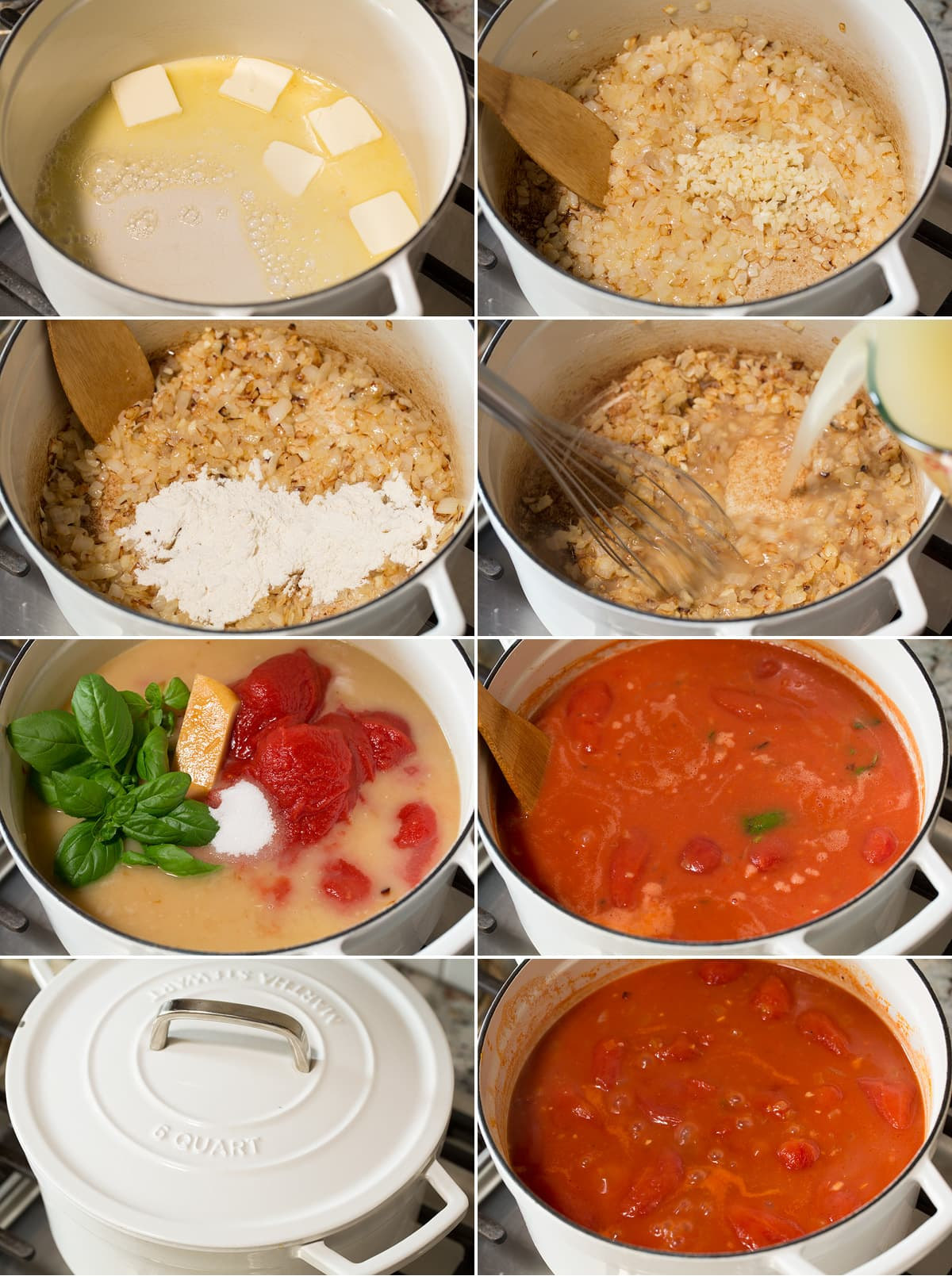 Collage of eight images showing steps to making tomato soup in a large pot on the stovetop. Shows sautéing onions, garlic, flour in butter and adding tomatoes, broth and seasonings. Then simmering.