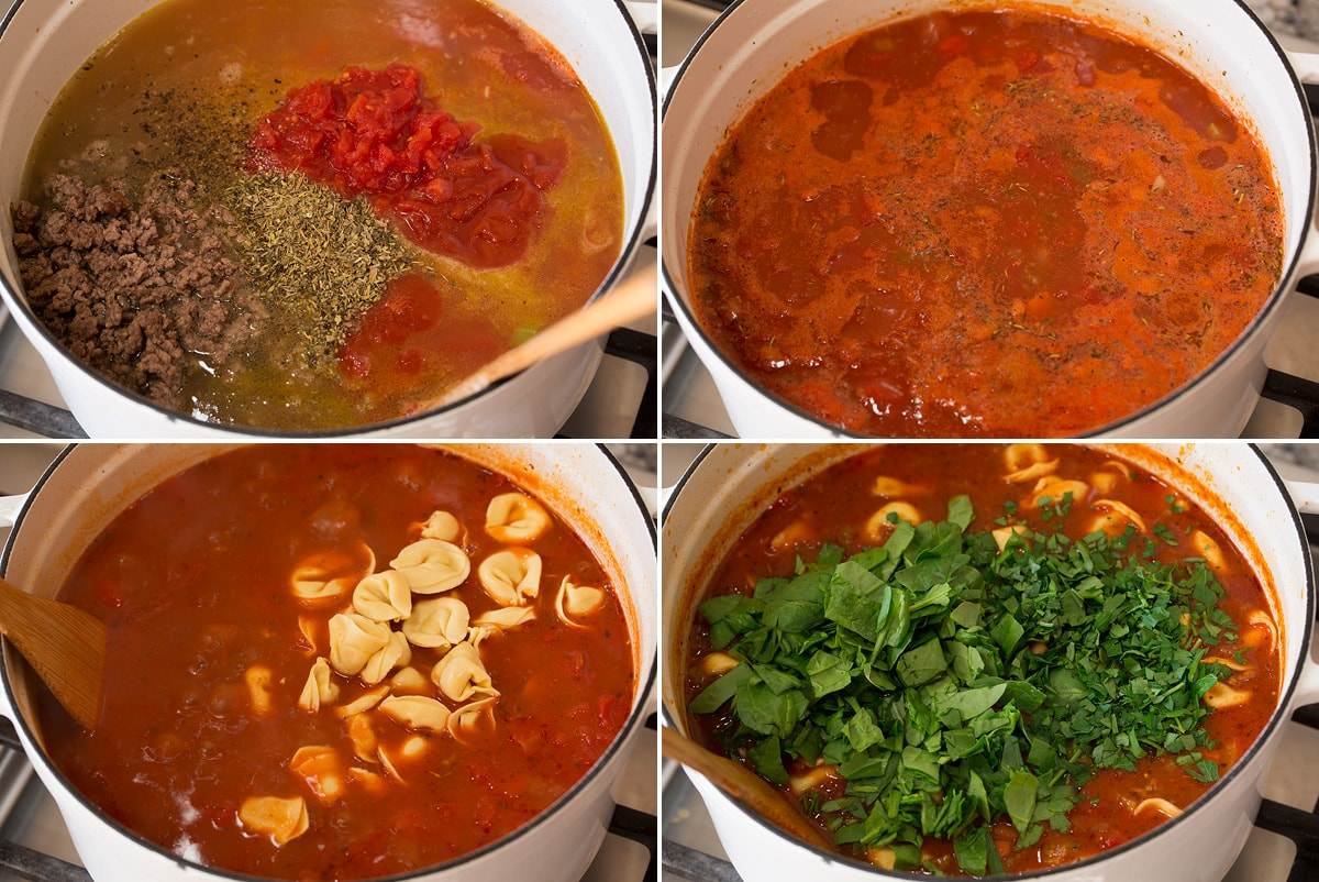 Collage of four images showing mixing liquid ingredients for soup, simmering, adding tortellini and spinach.