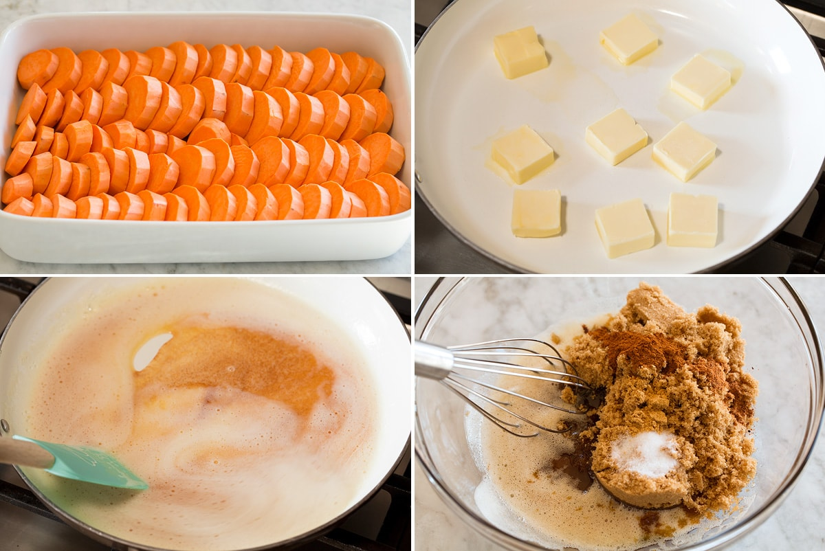 Collage image of the first four steps to make candied yams.