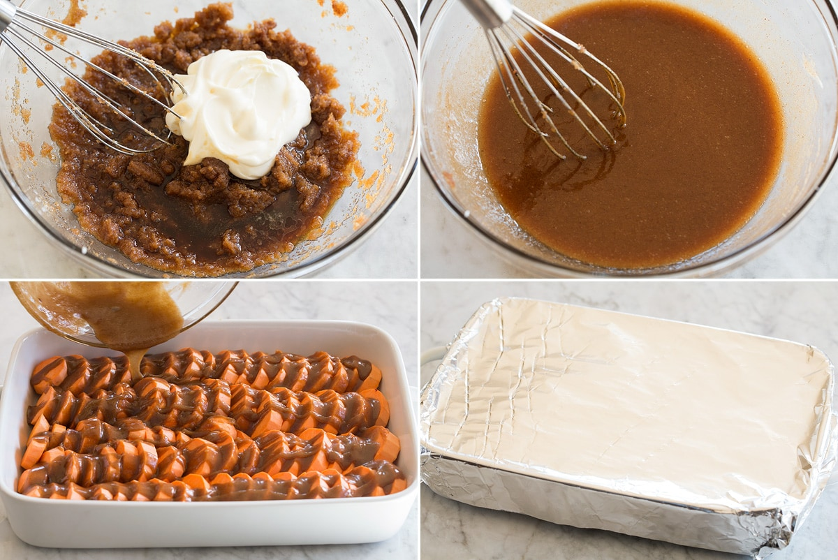 Collage image of the last four steps to make candied yams.