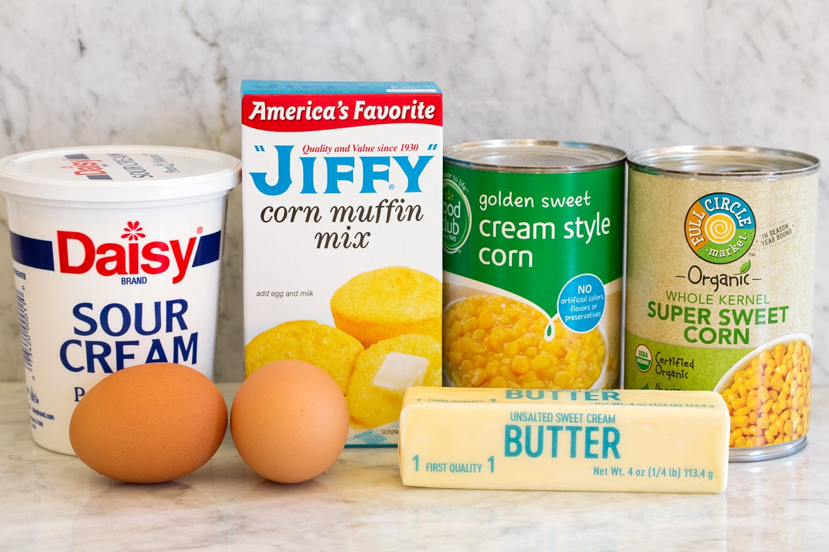 Image of the ingredients used for an easy corn casserole with a jiffy mix.