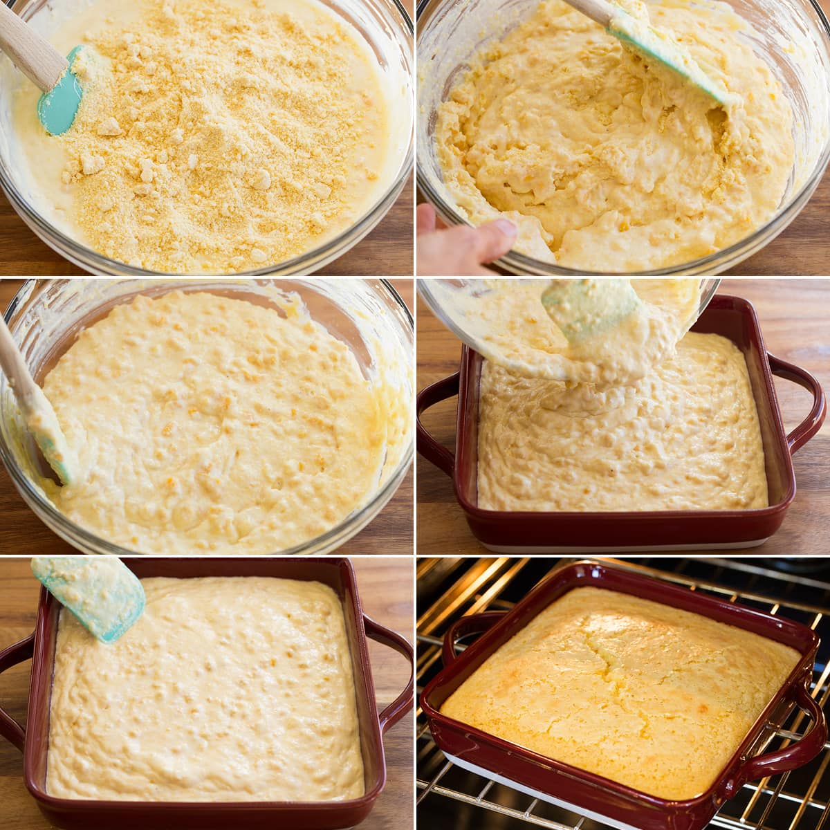 Collage of six pictures showing how to mix corn dough and pour it into a baking dish and bake.