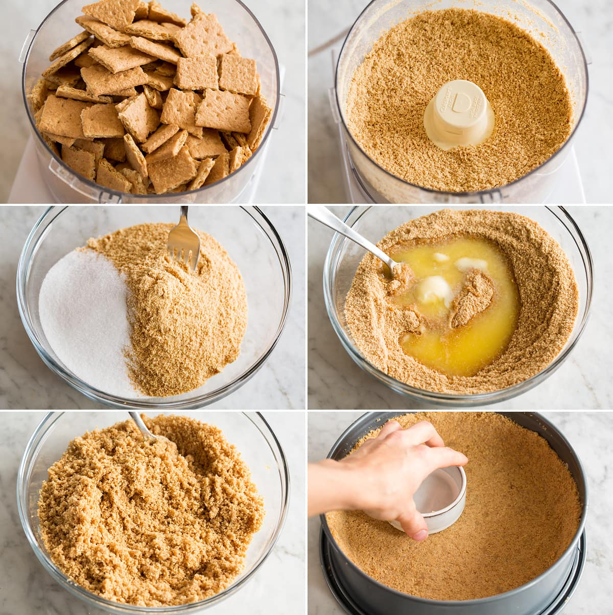 Collage of six images showing steps to preparing a graham cracker crust for cheesecake.