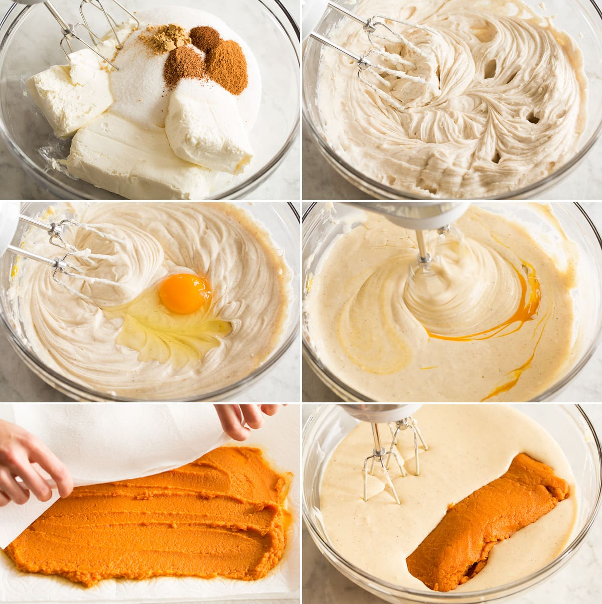 Collage of six images showing steps to preparing pumpkin cheesecake batter in a mixing bowl.
