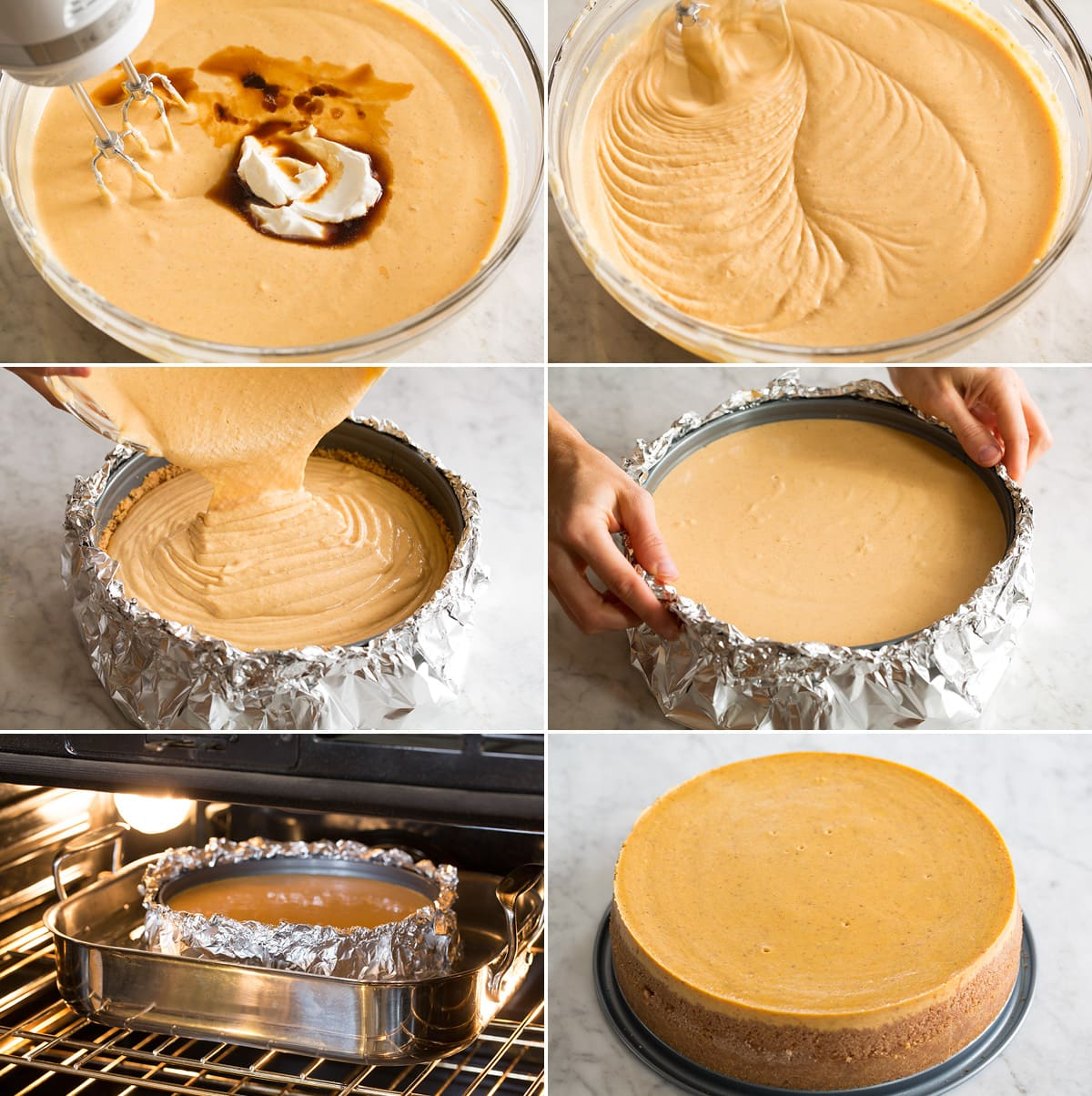 Collage of six images finishing pumpkin cheesecake batter, pouring into springform pan and then baking in a water bath.