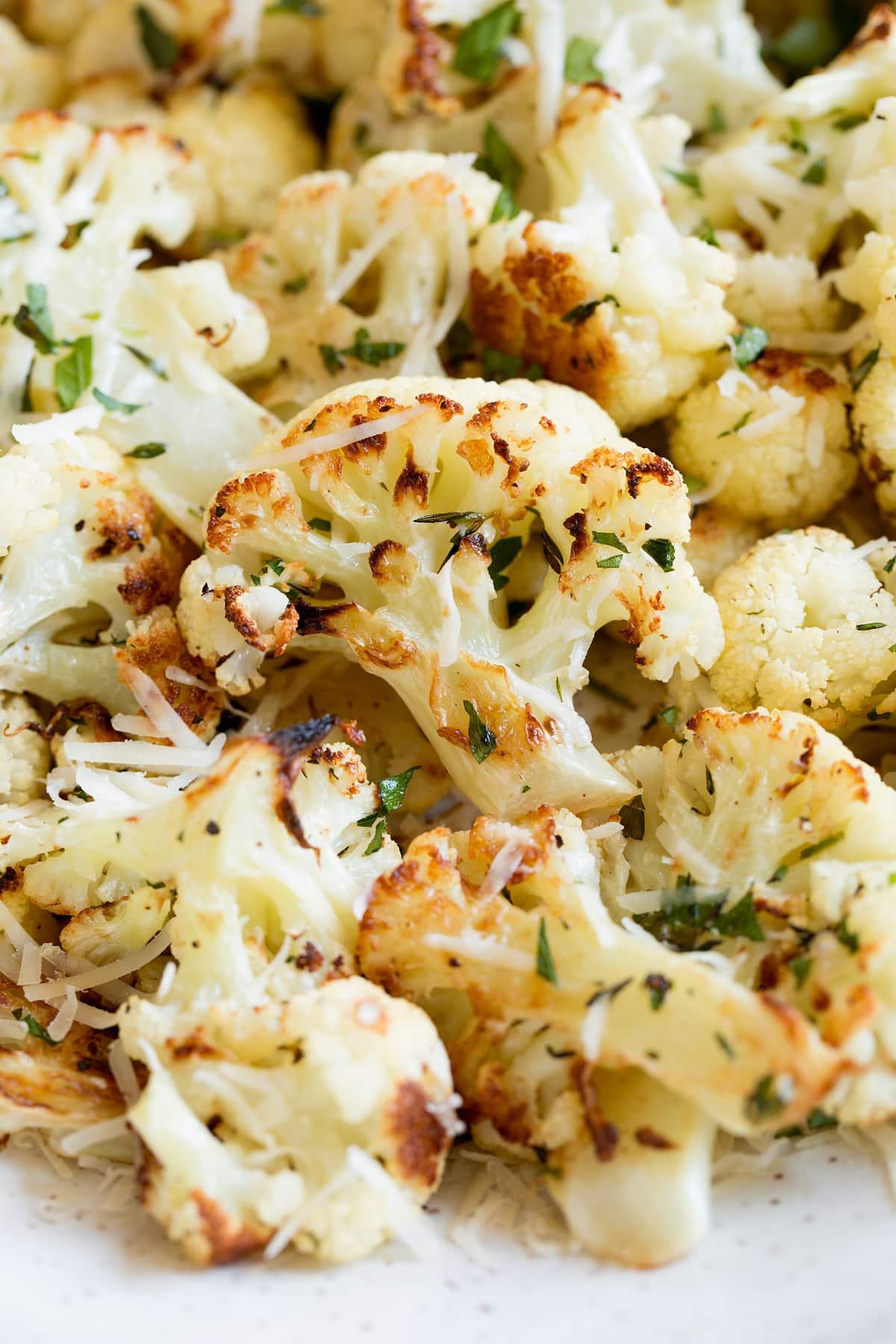 Close up image of roasted cauliflower.