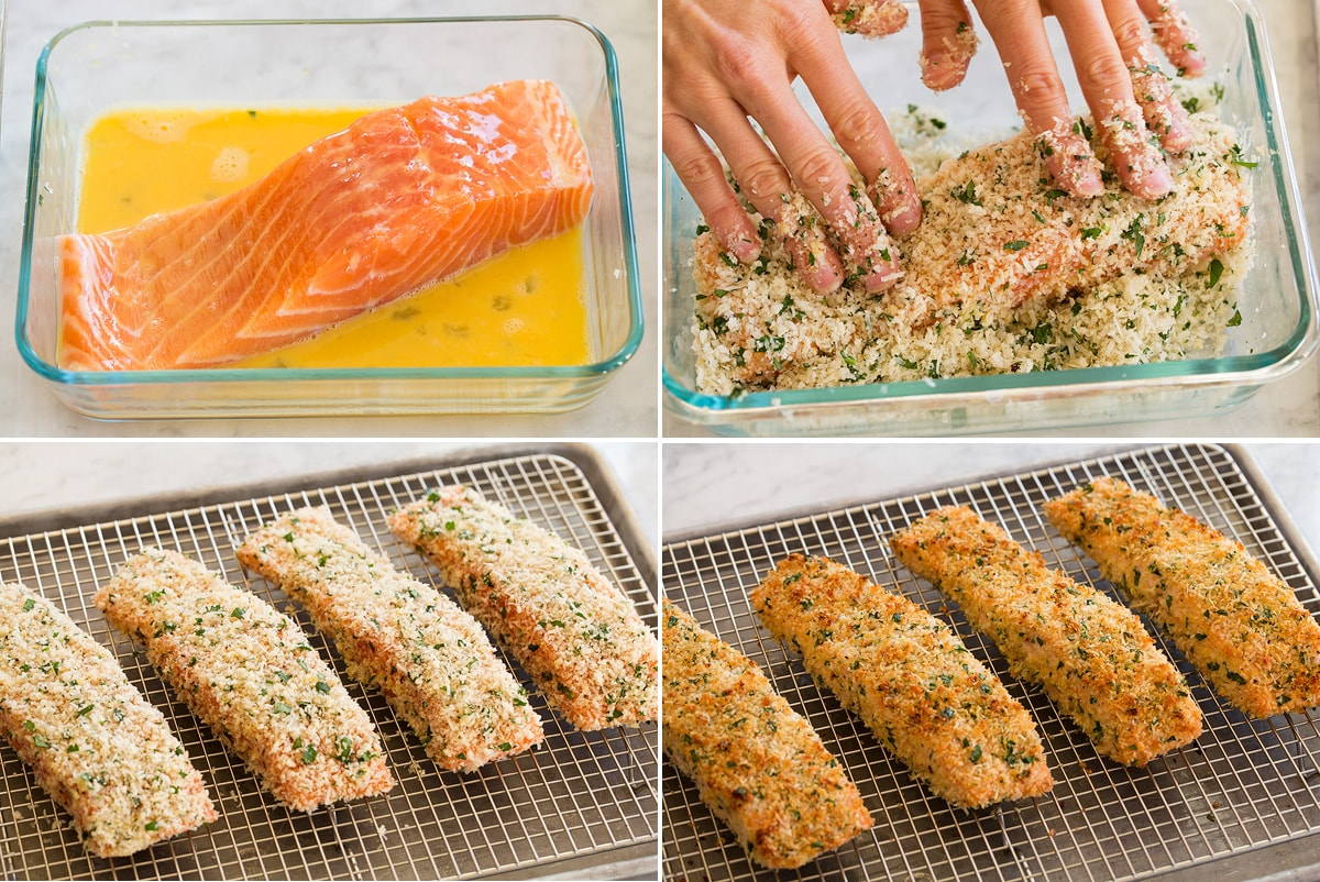 Collage of four images showing how to coat salmon with egg and breading then shows salmon on wire rack on baking sheet before and after baking.