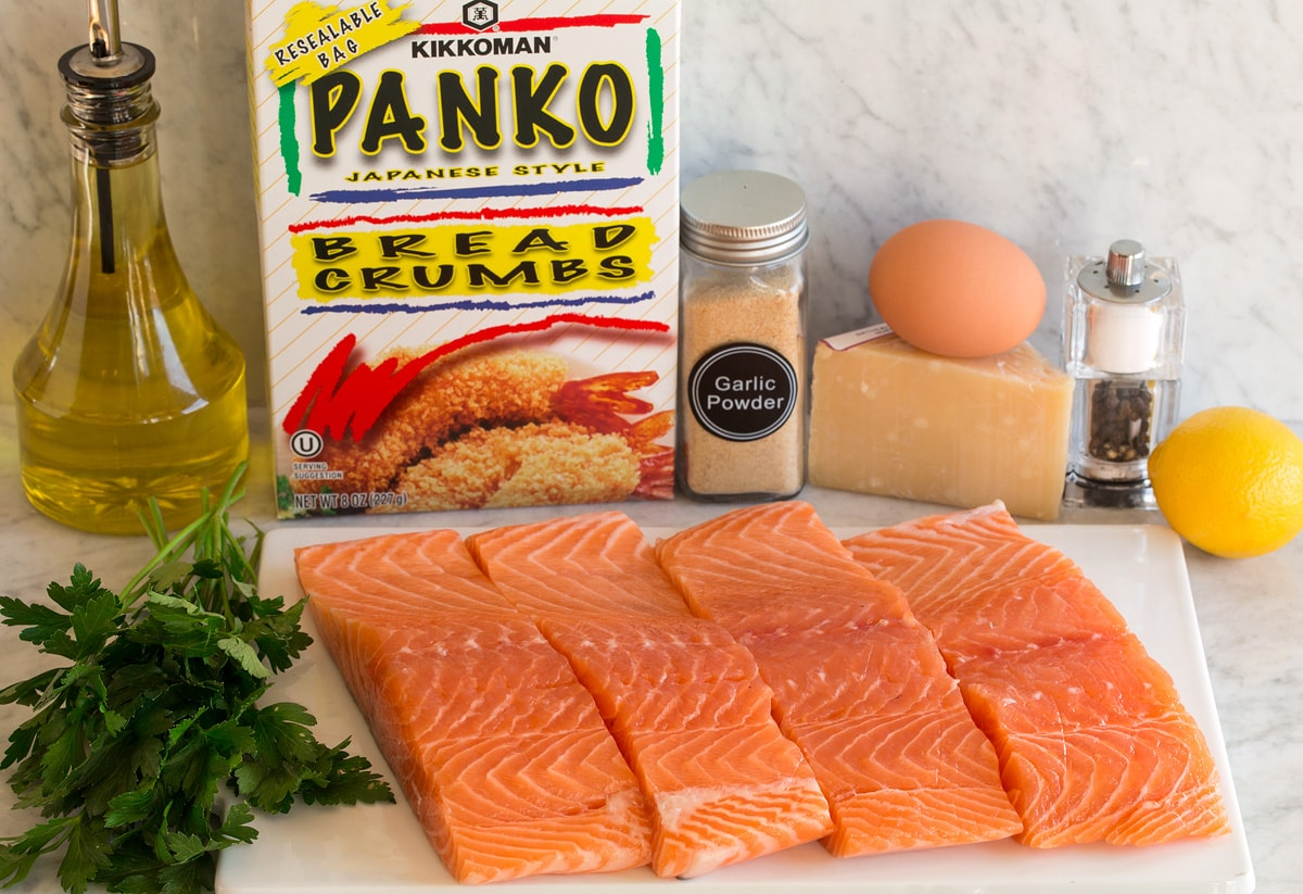 Image of ingredients used to make baked salmon with parmesan and panko.