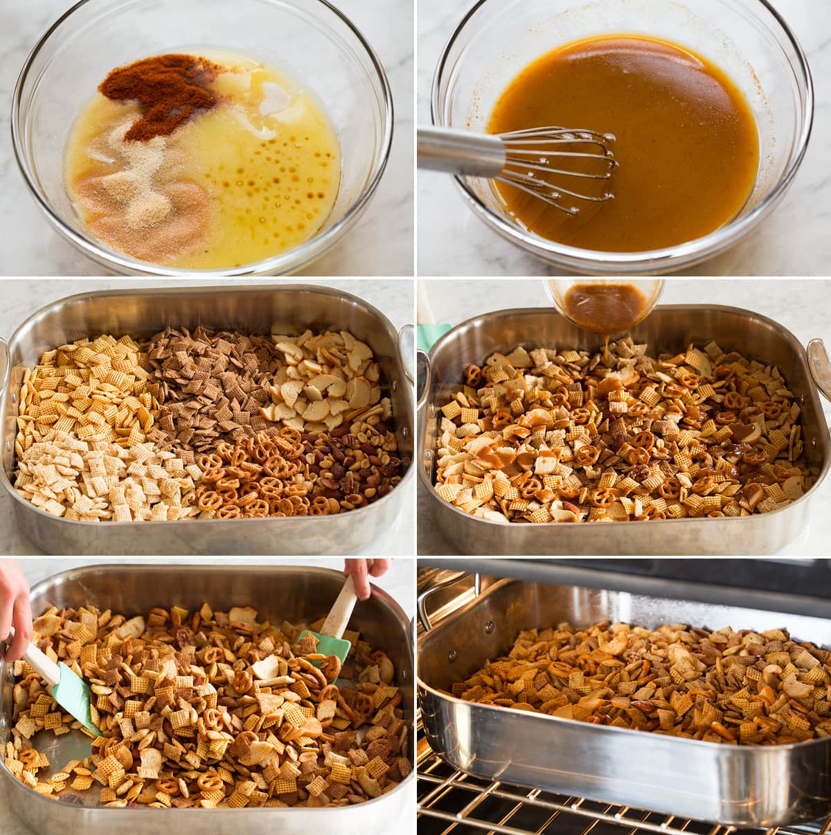 Collage of six images showing steps to preparing chex mix in the oven.
