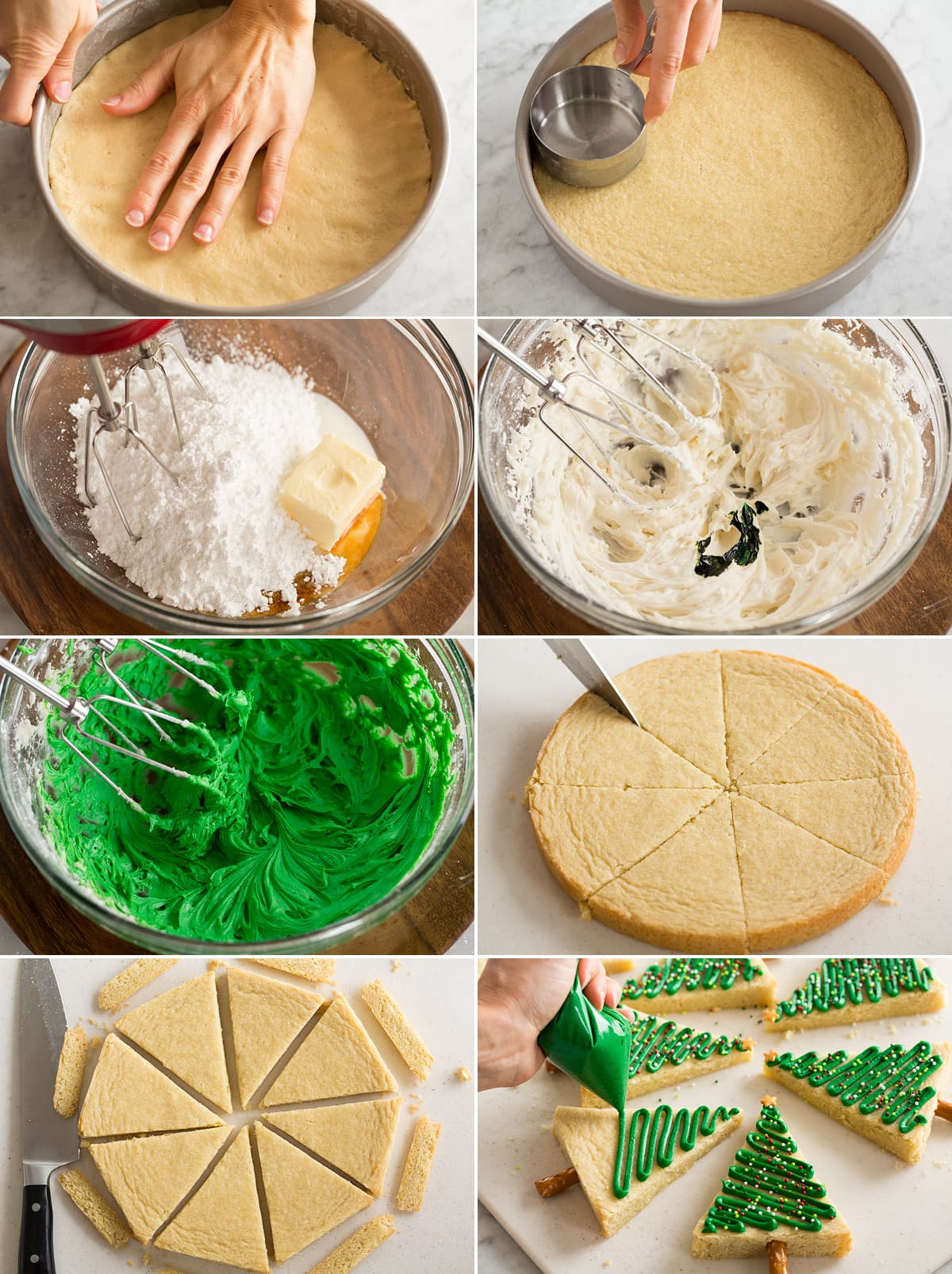 Collage of eight images showing how to press dough into cake pan to bake. Then shows making frosting, slicing cookie into wedges and decorating.