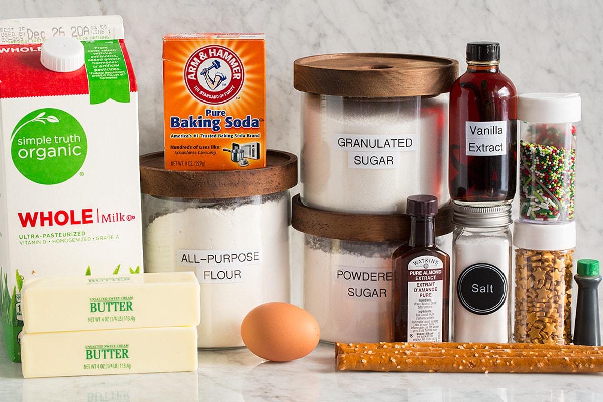Image of ingredients used in making Christmas tree cookies.