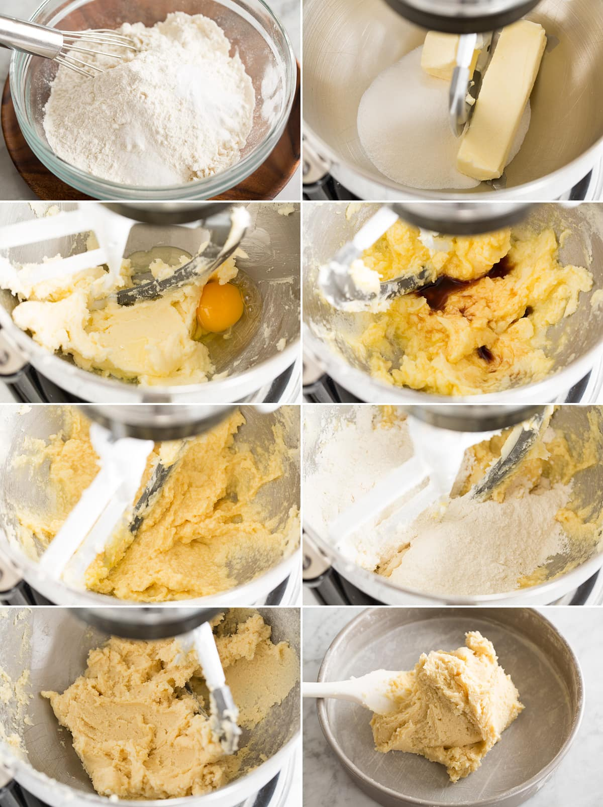 Collage of eight images showing how to make Christmas tree cookie dough.