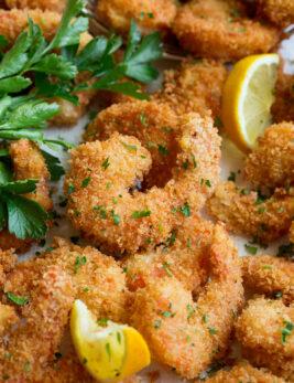 Close up image of fried shrimp.