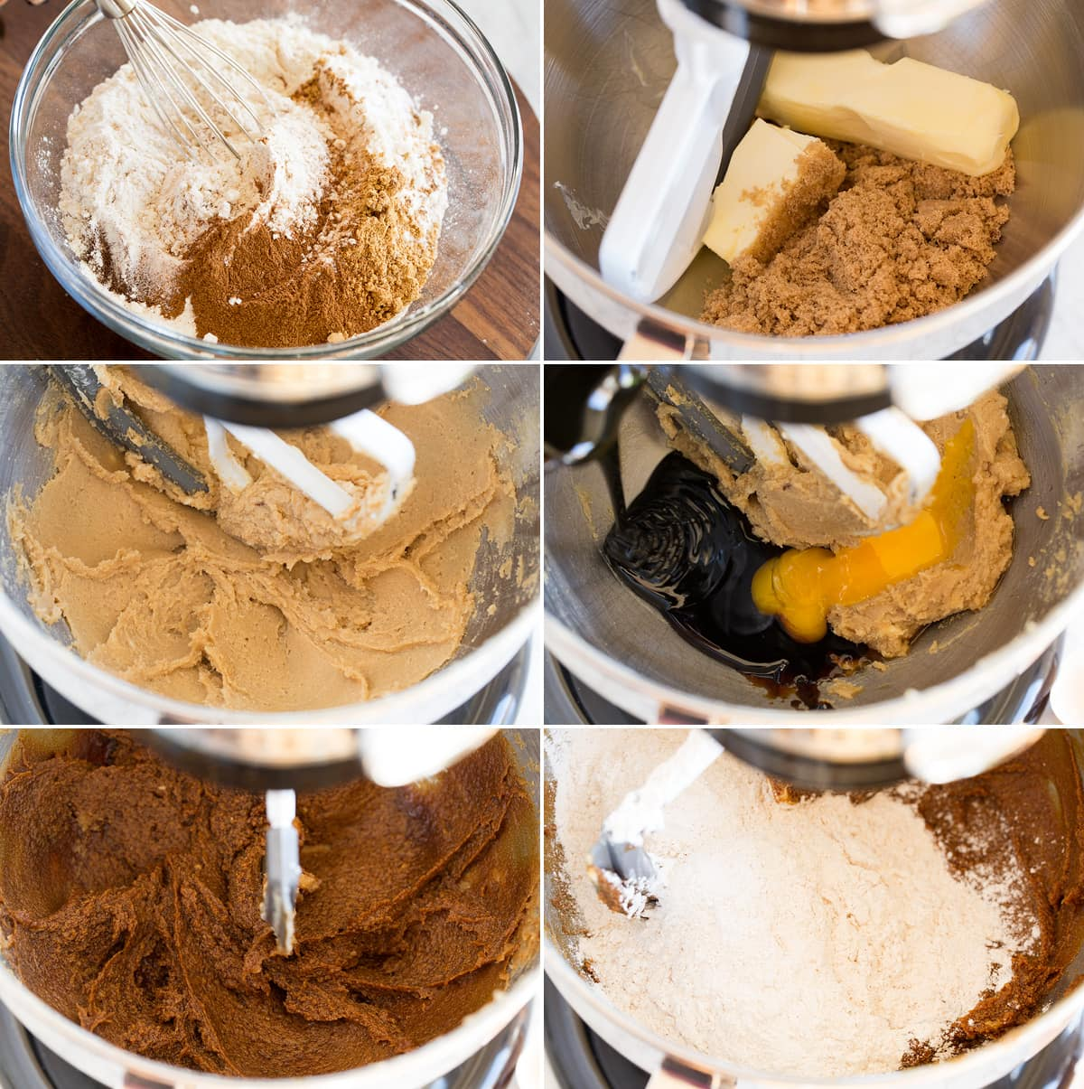 Collage of six images showing first six steps of making molasses cookies. Shows whisking dry ingredients in a bowl. Separately in a stand mixer creaming butter and brown sugar, the mixing in molasses and egg yolk. And last shows mixing in flour.
