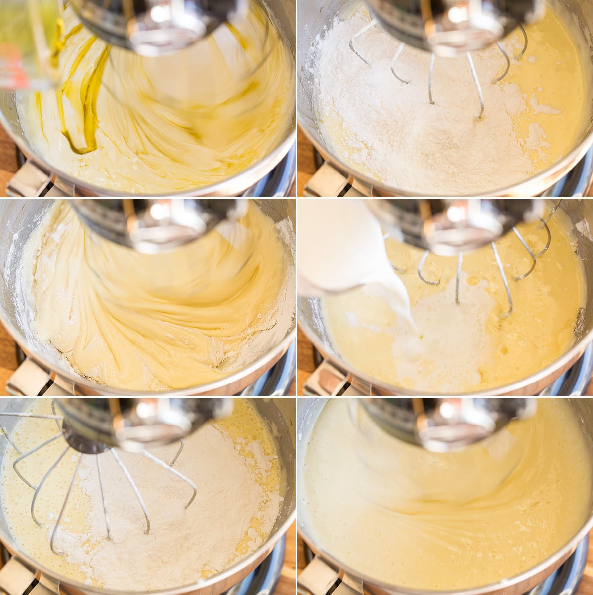 Collage of six images showing continued steps of making olive oil cake batter in mixer bowl.