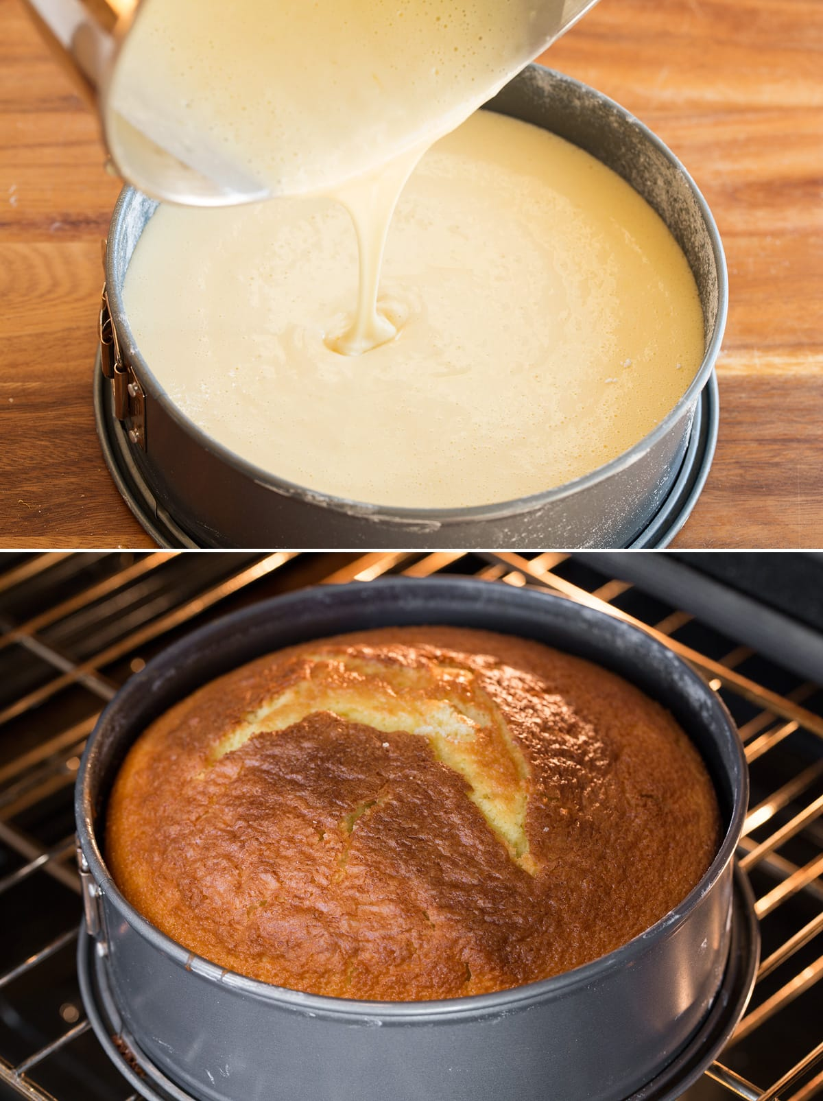 Collage of two photos showing cake batter being poured into springform pan then second showing it baking in the oven.