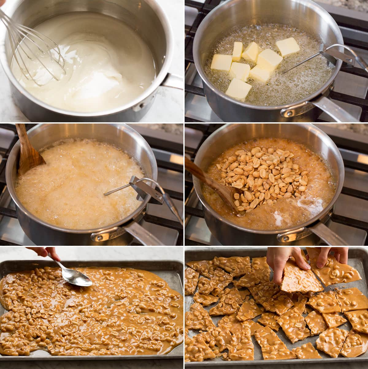 Collage of six images showing how to make peanut brittle in a saucepan on the stovetop. Also shows spreading peanut brittle mixture onto baking sheet then breaking it.
