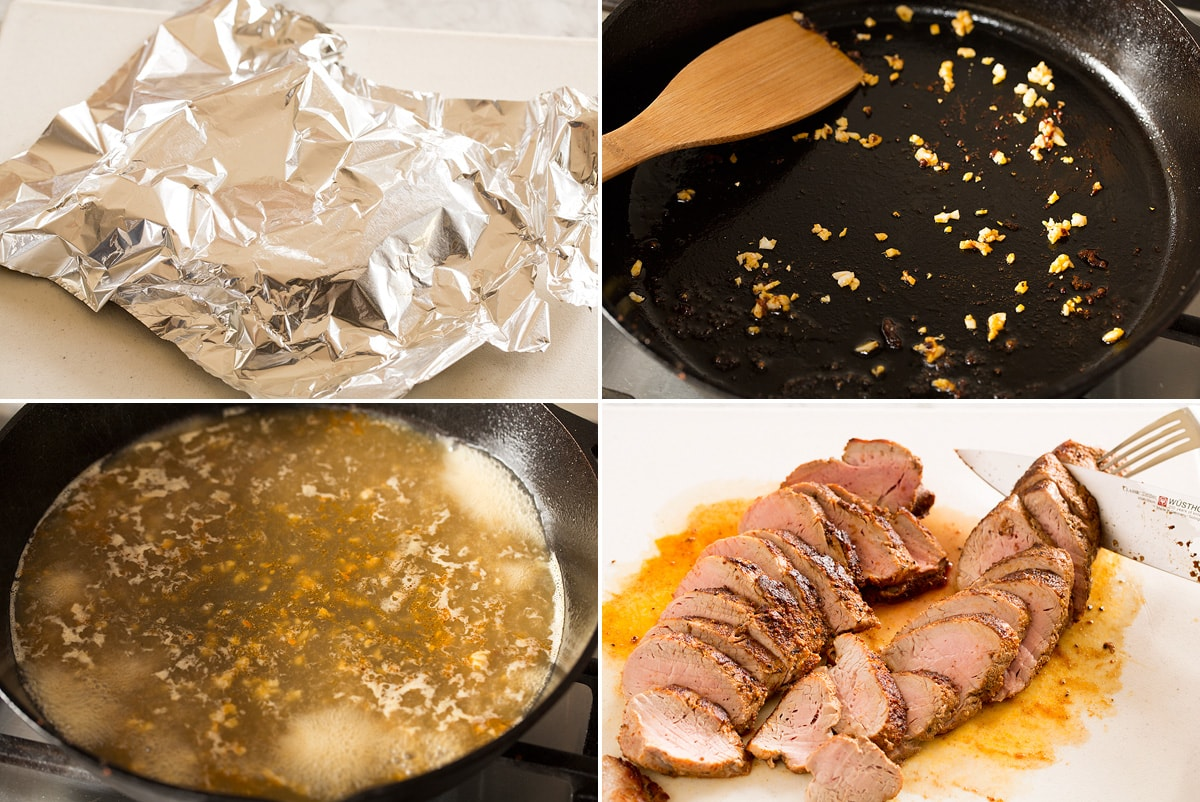 Collage of four photos showing resting pork with foil, making sauce and carving pork tenderloin.
