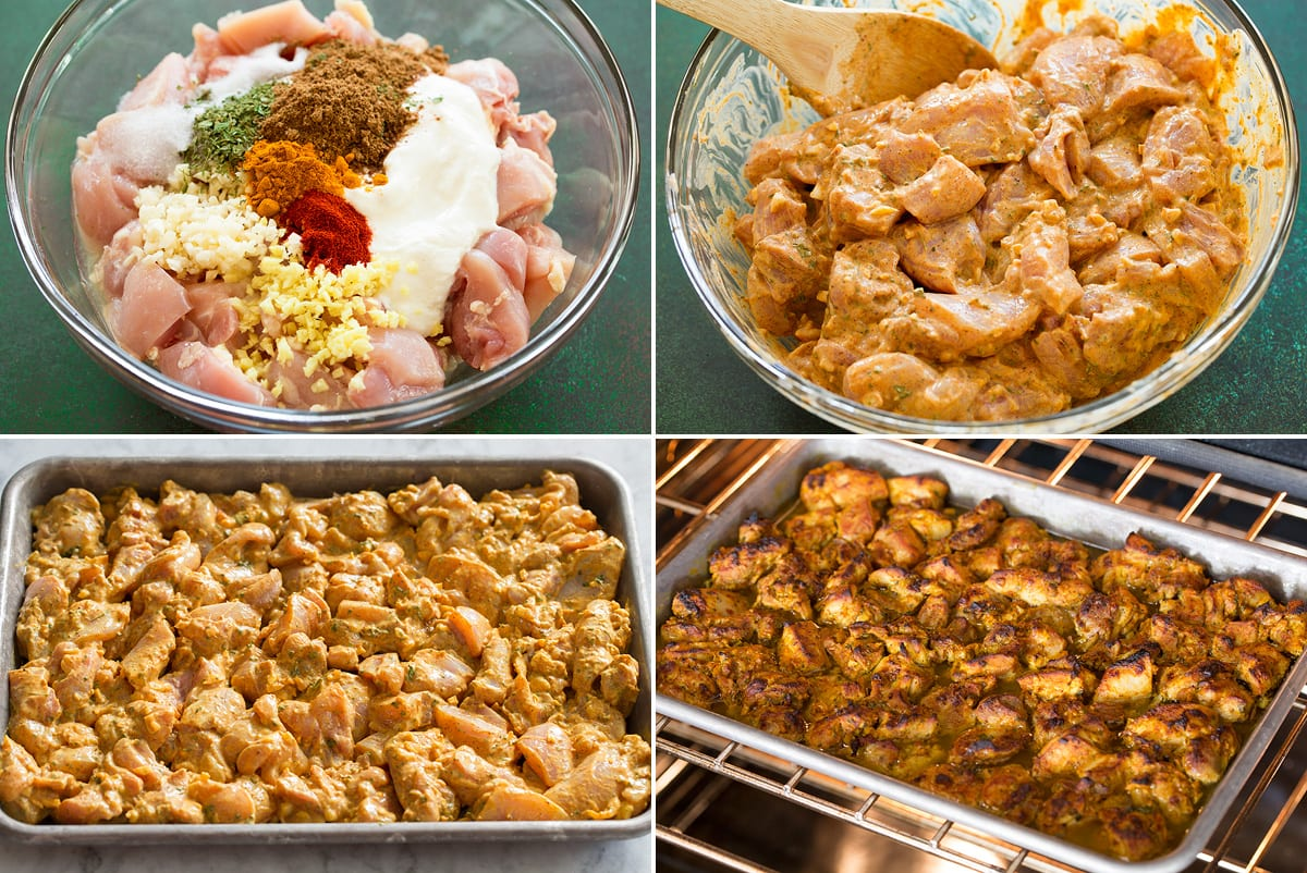Collage of four photos showing steps to making butter chicken marinade and roasting in the oven on a baking tray.