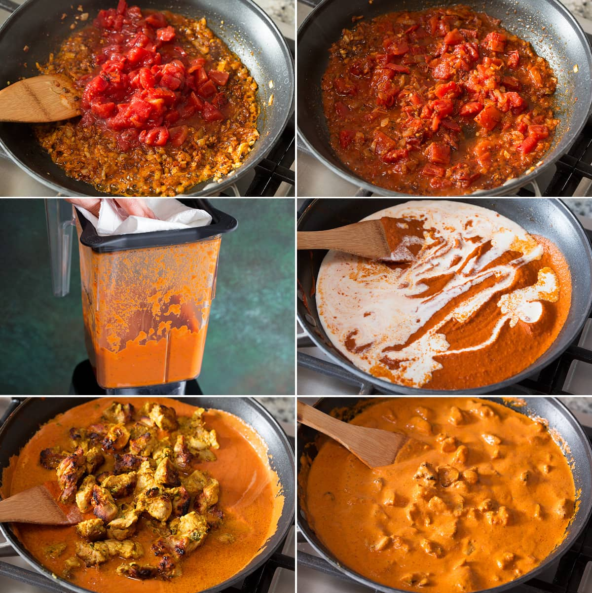 Collage of six photos showing steps to finishing butter chicken sauce and tossing in chicken.