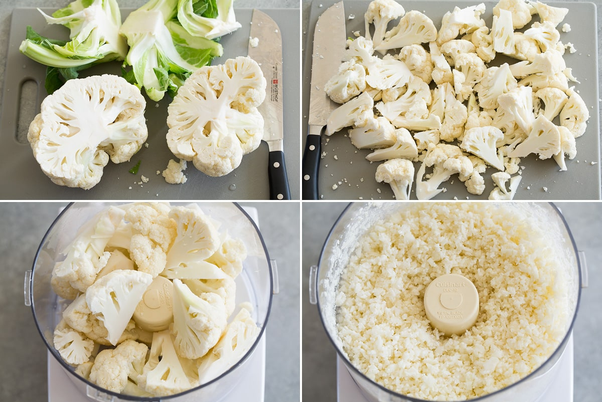 Collage of four photos showing how to chop and prep cauliflower then showing it before and after mincing in a food processor.
