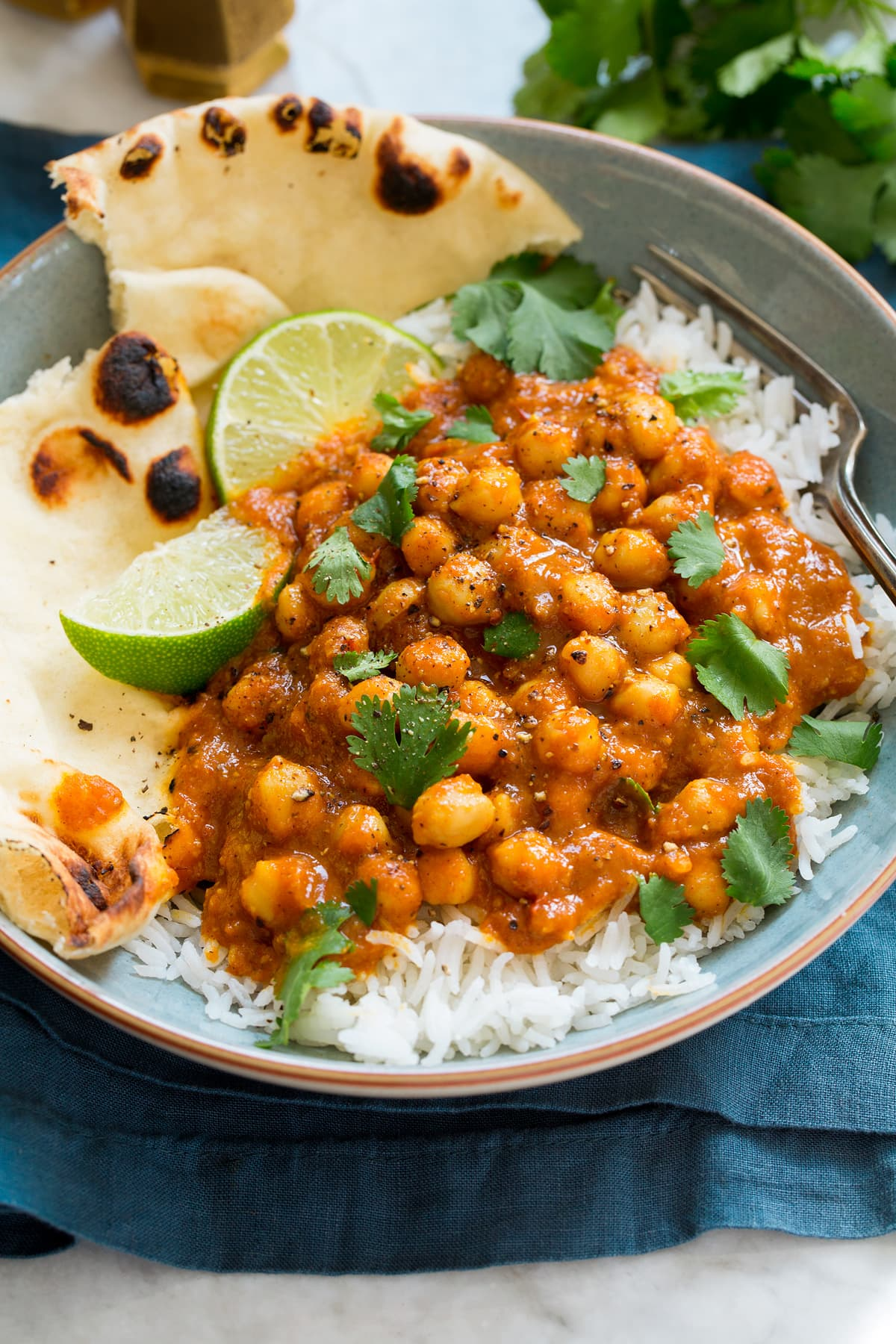 Photo of Chickpea Coconut Curry shown atop rice garnished with cilantro in a serving bowl. Also shows naan bread to the side as a serving suggestion.
