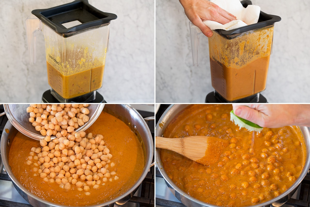 Collage of four photos showing how to blend curry sauce in blender then adding chickpeas and saute to pan to simmer together.