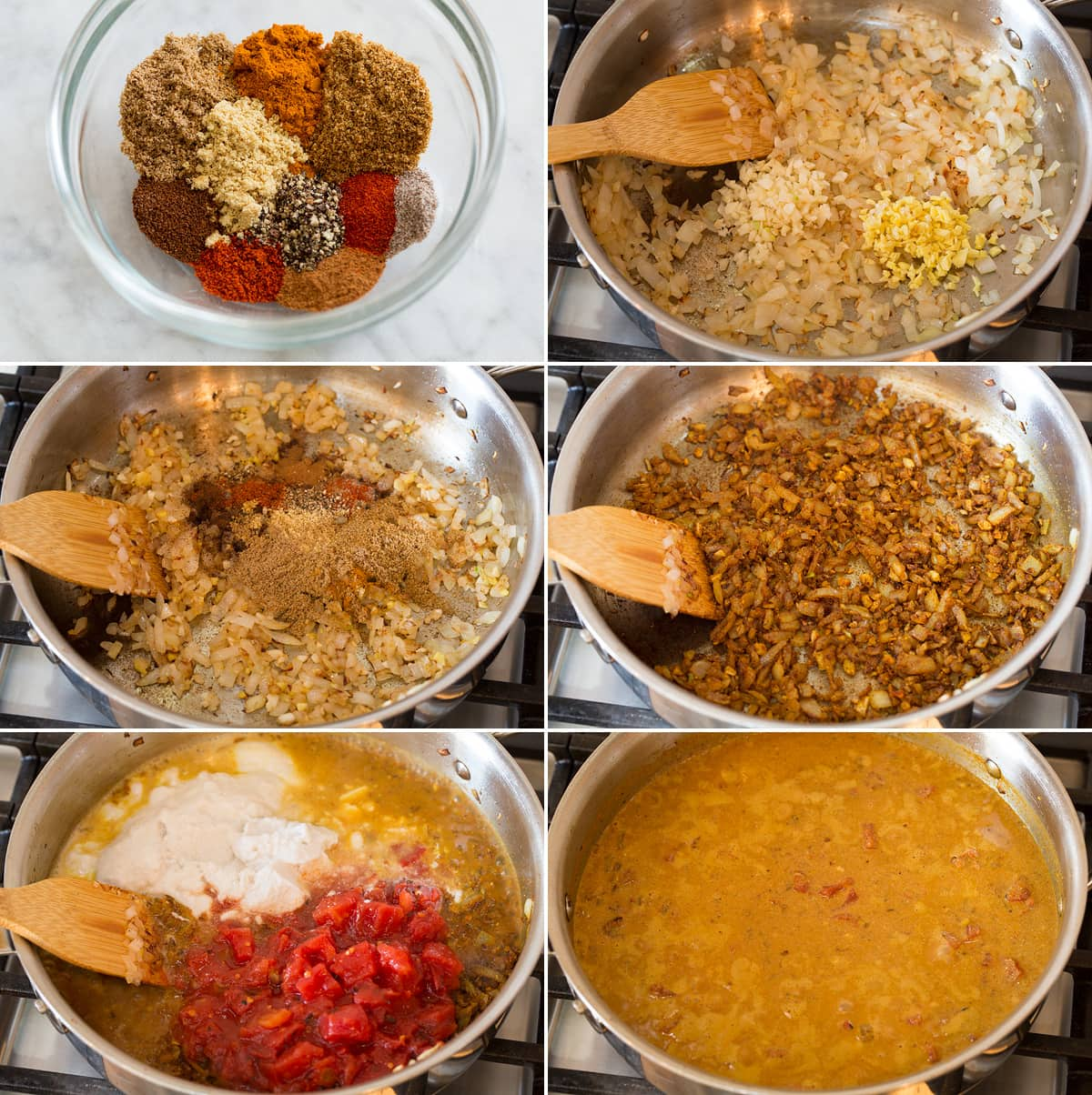 Collage of six photos showing the first six steps of preparing curry sauce for chickpea curry in a pan.