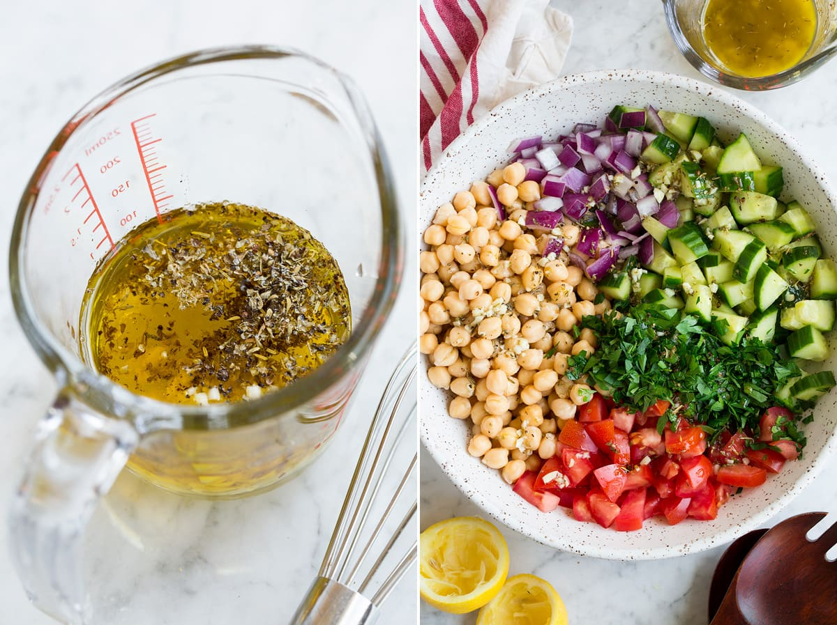 Collage of two images showing how to make dressing and chickpea salad.