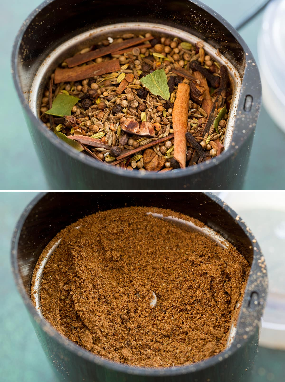 Collage of two photos showing garam masala in spice grinder before and after grinding.