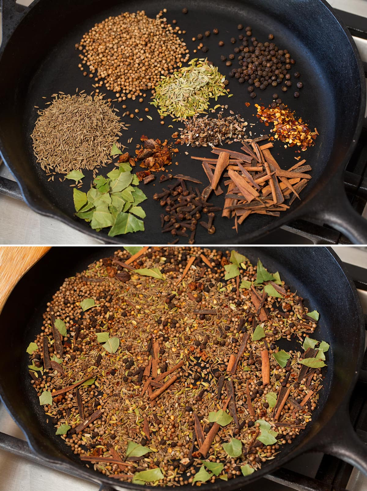Collage of two images showing spices in a skillet before and after toasting.