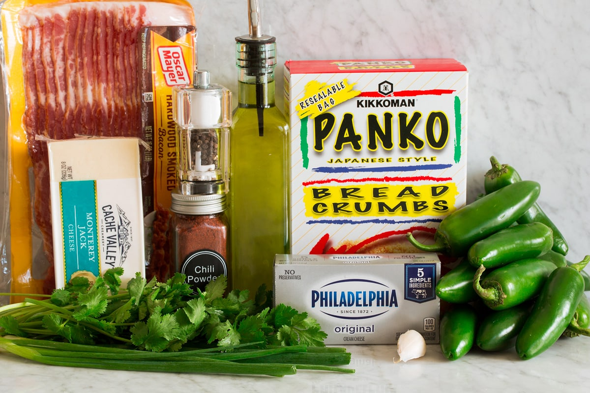 Photo of ingredients used to make jalapeno poppers. Includes fresh jalapenos, panko bread crumbs, cream cheese, garlic, cilantro, green onions, Monterey jack cheese, chili powder, salt, pepper and bacon.