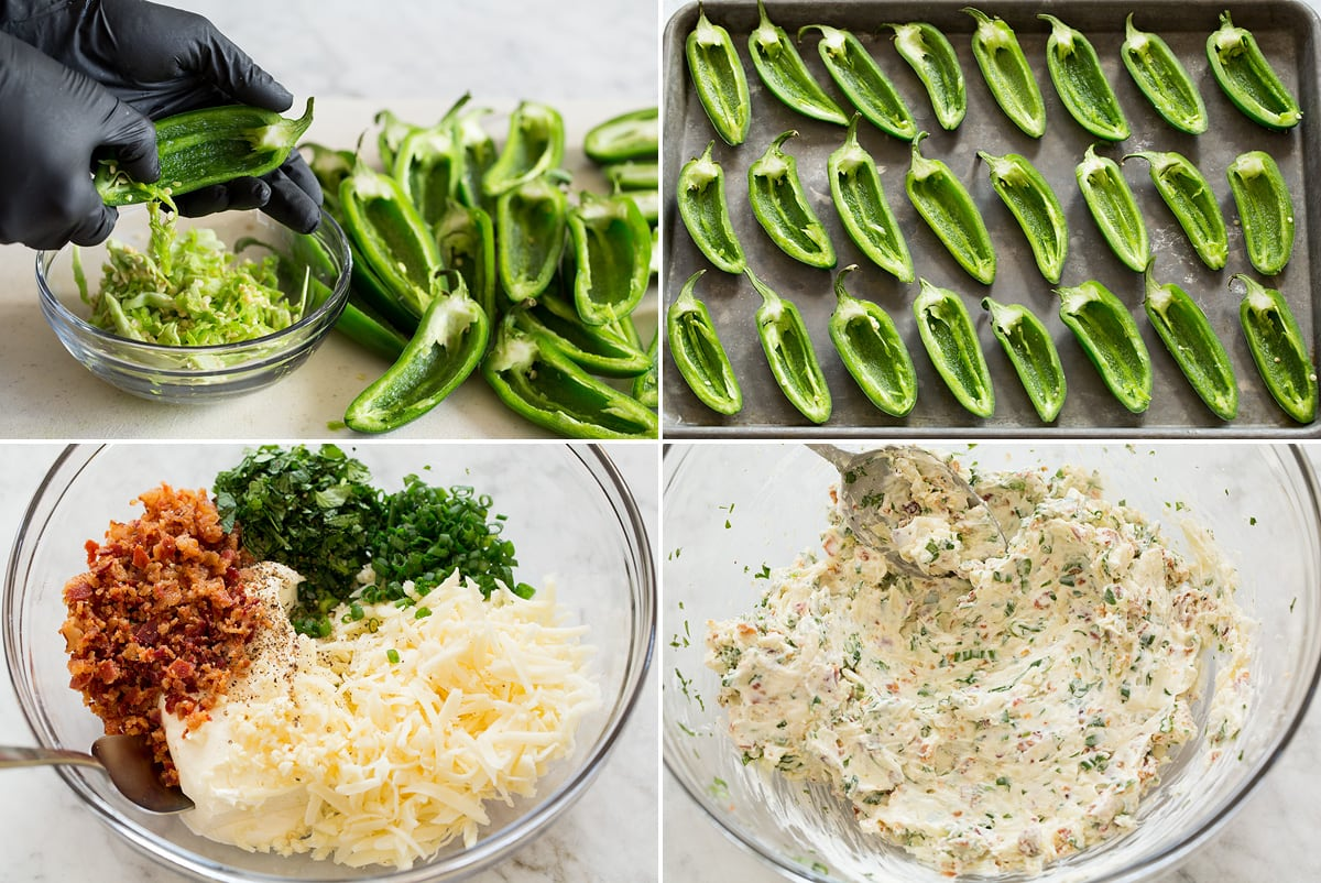 Collage of four photos showing first steps of preparing jalapeno poppers. Includes halving and seeding jalapenos, aligning them on baking sheet, then making cream cheese filling.