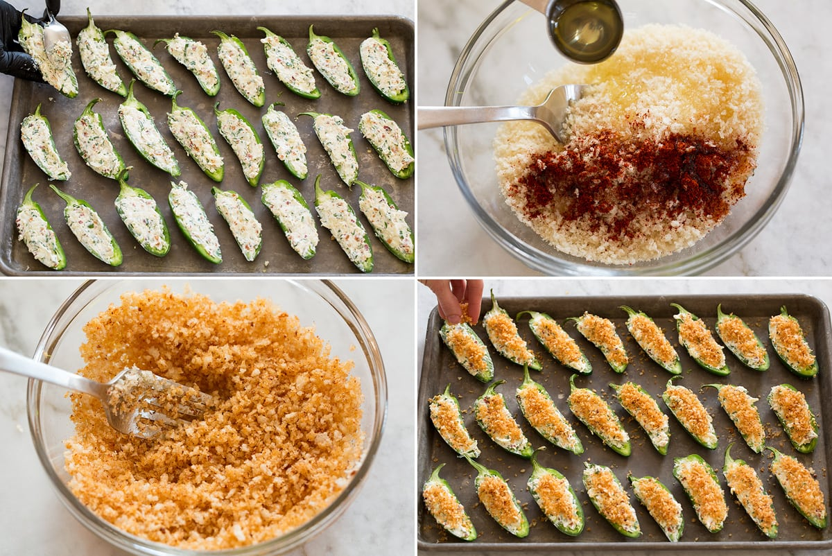 Collage of four photos showing how to stuff jalepono peppers and prepare and finish with panko topping mixture.