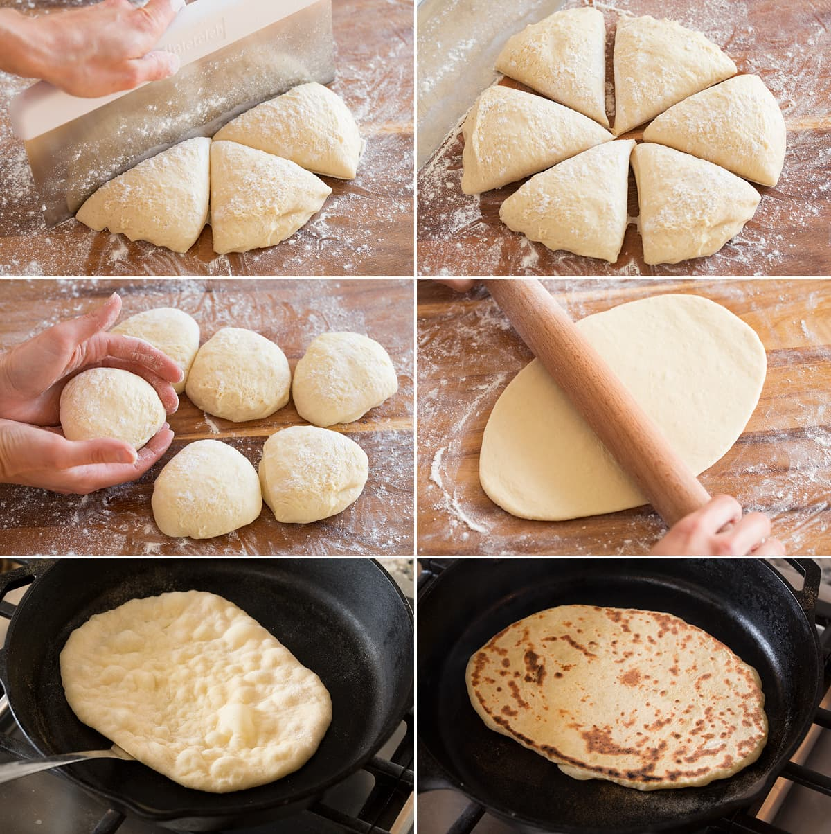 Steps 13 - 18 of shaping and rolling naan dough then cooking in skillet on both sides.