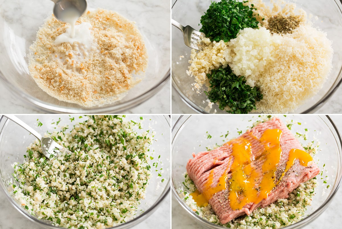 Collage of four photos showing first for steps of mixing turkey meatball ingredients.