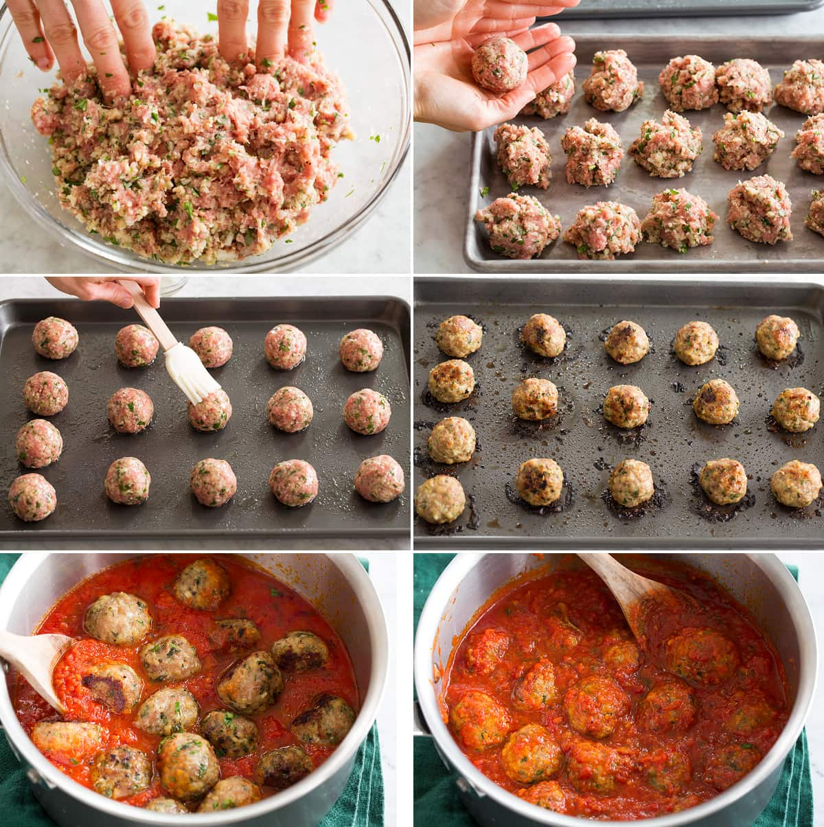 Collage of six images showing shaping turkey meatballs, aligning and baking on baking sheet then cooking in marinara sauce.