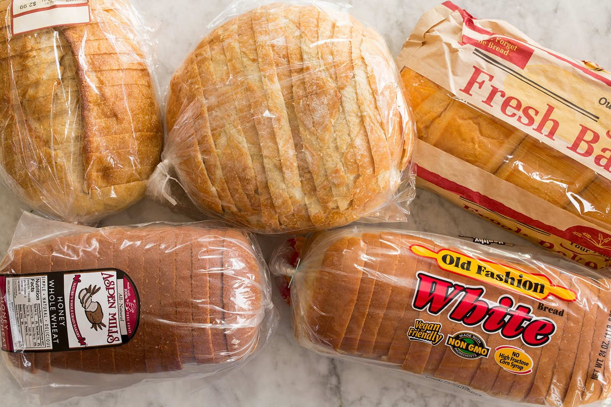 Photo of types of bread shown as examples to use to make bread crumbs.